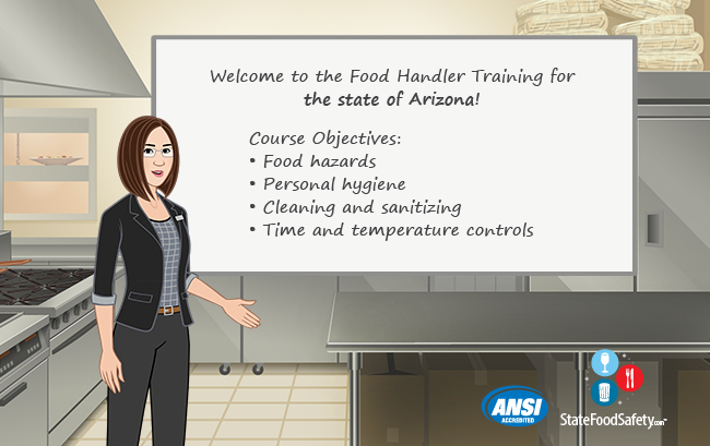 Introduction board for Maricopa County food handlers card training.