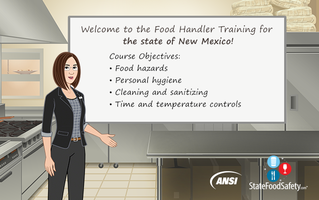 Introduction slide for New Mexico food handlers card certification training.