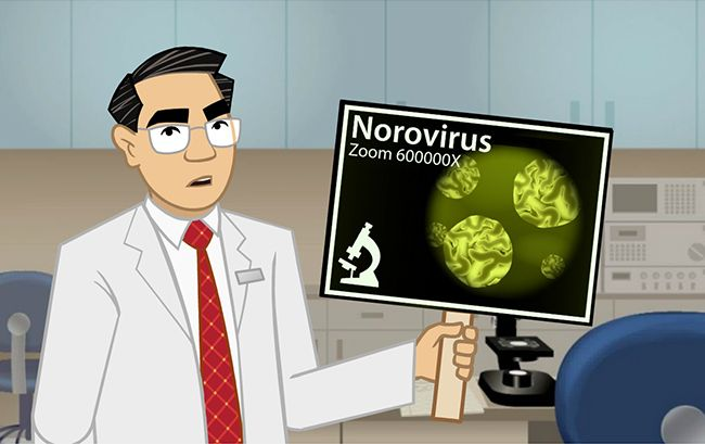 Animated instructor holding a norovirus sign in Illinois food handlers card cert