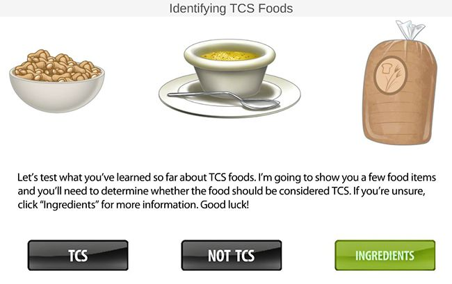 Interactive TCS foods game in Missouri food handlers permit training.