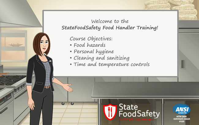 Introduction slide for Illinois food handlers card certification training.